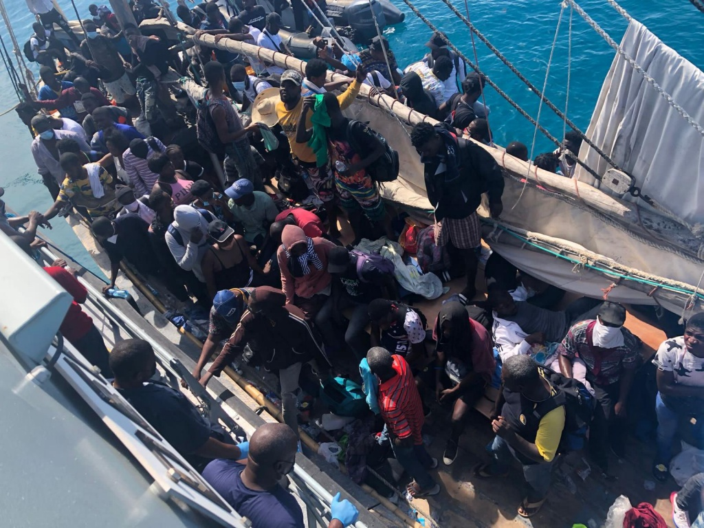 Illegal Haitian migrants apprehended in the Southern Bahamas.