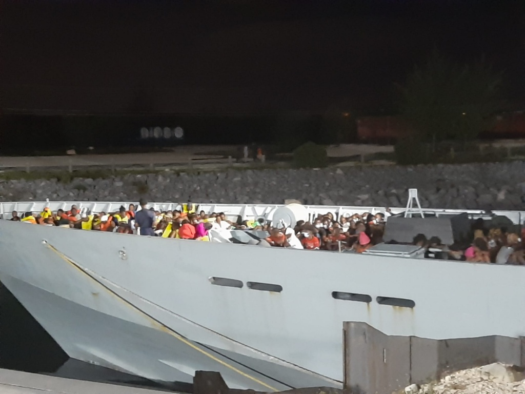 Haitian migrants detained by RBDF vessel on Thursday, September 23rd, 2021.