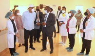 Health Minister Darville tours Exuma hospital with DPM Cooper on Thursday, October 14, 2021. Dr. Darville also made medical facility assessment tours in Cat Island and Long Island on this trip.   (BIS Photos/Ulric Woodside)