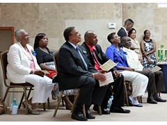 Panel (Back) - Evangelist Shirley Burrows, PTA President Mrs. Marion Thompson, (Front) Hon. Oswald Ingraham - Deputy Gov. Gen., Jason Thompson - Principal, Helen Simmons-Johnson - Dist. Supt., Mr. Kirkwood Cleare - Education - 490A7427