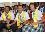 The three Honour Roll students of the CEHS Class of 2016-(R-L), Safyha Bryan (Valedictorian & Head Girl), Joevante Fox (Salutatorian & Deputy Head Boy) and Cortez Cooper (Head Boy) - 490A7087