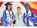 (L-R) Salutatorian, Brittany Ingraham and Valedictorian, Naaman Rolle of the WHS Class of 2016 with their English teacher Mrs. Klepper-  490A3266