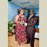 Mrs. Sands of Wemyss Bight Primary collecting an award for one of her students- 490A7131