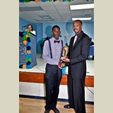 High School male awarded for his achievements in sports- 490A7158