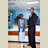 High School male awarded for his achievements in sports- 490A7160