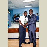 High School male awarded for his achievements in sports- 490A7176
