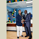 Recent graduate of the NEHS, Aaron Cox, also awarded for his achievements in Track and Field as  Most Valuable Track & Field male-490A7187