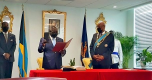 New Prime Minister Philip Davis, sworn-in during a private ceremony at the Office of the Governor General on Friday afternoon, September 17th, 2021.